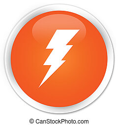 Electricity icon premium orange round button