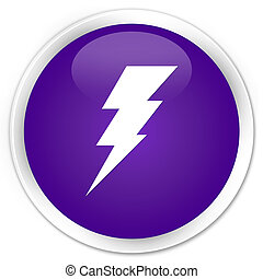 Electricity icon premium purple round button