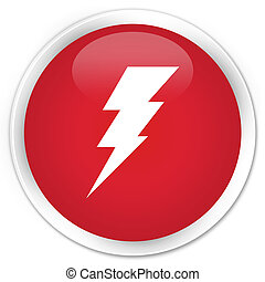 Electricity icon premium red round button