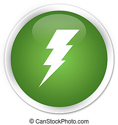 Electricity icon premium soft green round button