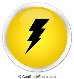 Electricity icon premium yellow round button