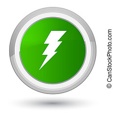 Electricity icon prime green round button