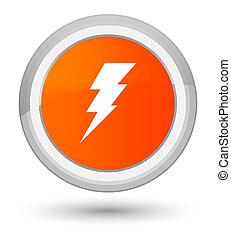 Electricity icon prime orange round button