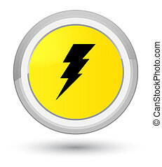 Electricity icon prime yellow round button