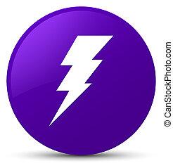 Electricity icon purple round button