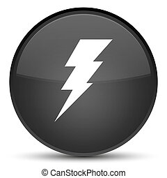 Electricity icon special black round button