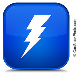 Electricity icon special blue square button