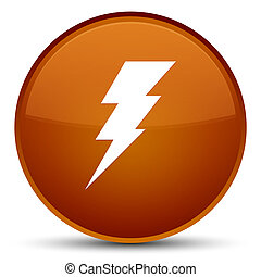 Electricity icon special brown round button