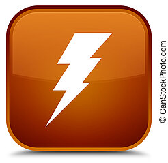 Electricity icon special brown square button