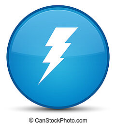 Electricity icon special cyan blue round button
