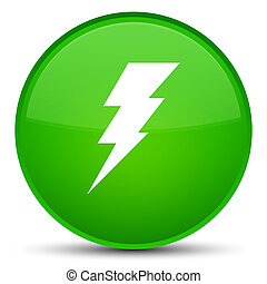 Electricity icon special green round button