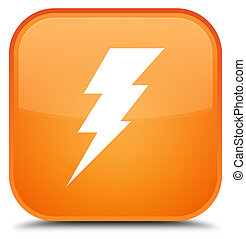 Electricity icon special orange square button