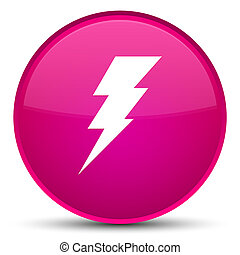 Electricity icon special pink round button