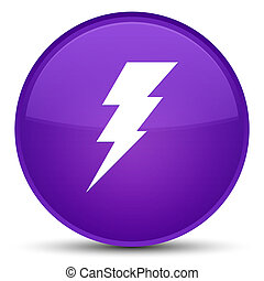 Electricity icon special purple round button