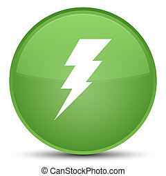 Electricity icon special soft green round button