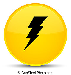 Electricity icon special yellow round button