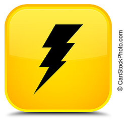 Electricity icon special yellow square button