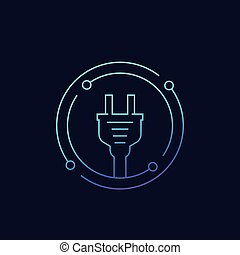 electricity icon with electric plug linear vector