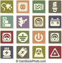 Electricity icons set