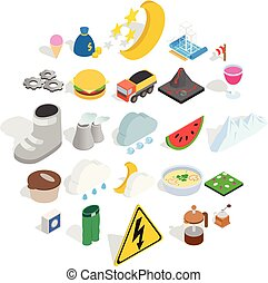 Electricity icons set, isometric style