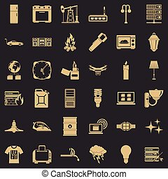 Electricity icons set, simple style