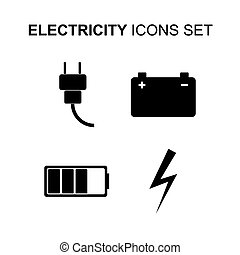Electricity icons set. Vector