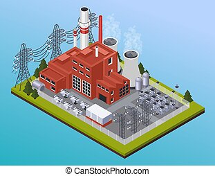 Electricity Isometric Composition