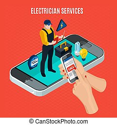 Electricity Isometric Red Composition