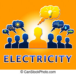 Electricity Light Bulb Means Power Source 3d Illustration