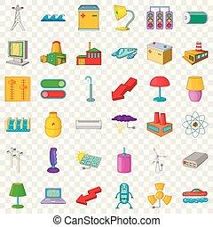 Electricity light icons set, cartoon style