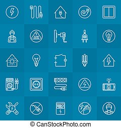 Electricity linear icons - vector home electrical symbols or logo elements in thin line style