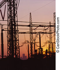 Electricity lines at dusk