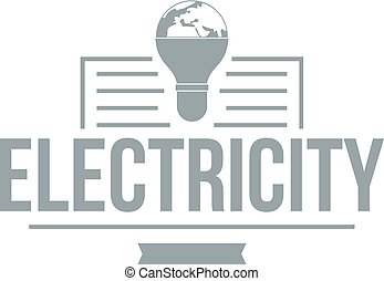 Electricity logo, simple gray style