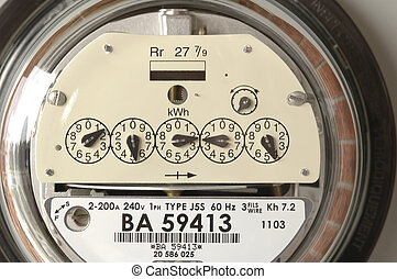Electricity Meter - Close-up of an electricity meter.