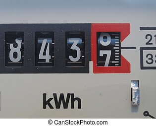 Electricity meter - Detail of an electric meter showing the...