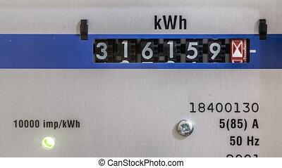 Electricity meter - Power meter time-lapse, illustrating...