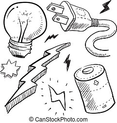 Electricity objects sketch - Doodle style electricity or...