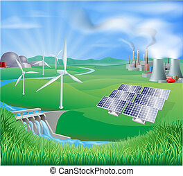 Electricity or power generation met - Illustration of many...