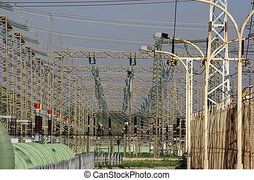 Electricity - Electric wires at a power station