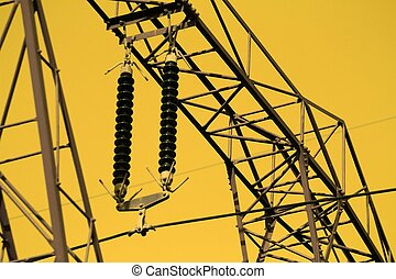 Electricity pillar with insulator and thick cable, high voltage