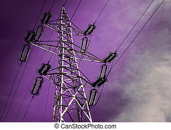 Electricity Pole - Electricity pole with purple sky.