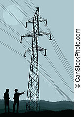 Electricity poles and structures construction engineers silhouet