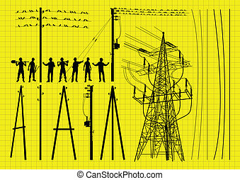 Electricity poles and structures construction engineers silhouette