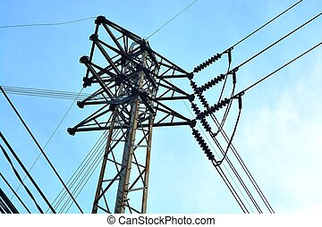 electricity poles with blue sky