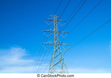 electricity post on blue sky