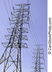 Electricity post - Pole electric sky as a backdrop.