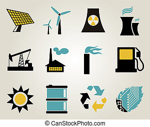 Electricity, power and energy icon set.