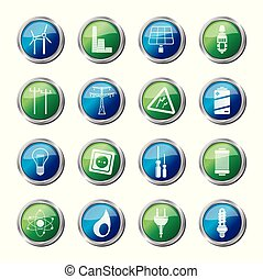 Electricity,  power and energy icons over colored background
