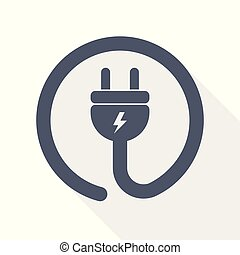 electricity, power, electric plug icon, vector illustration