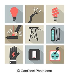 Electricity Power Icons Set.